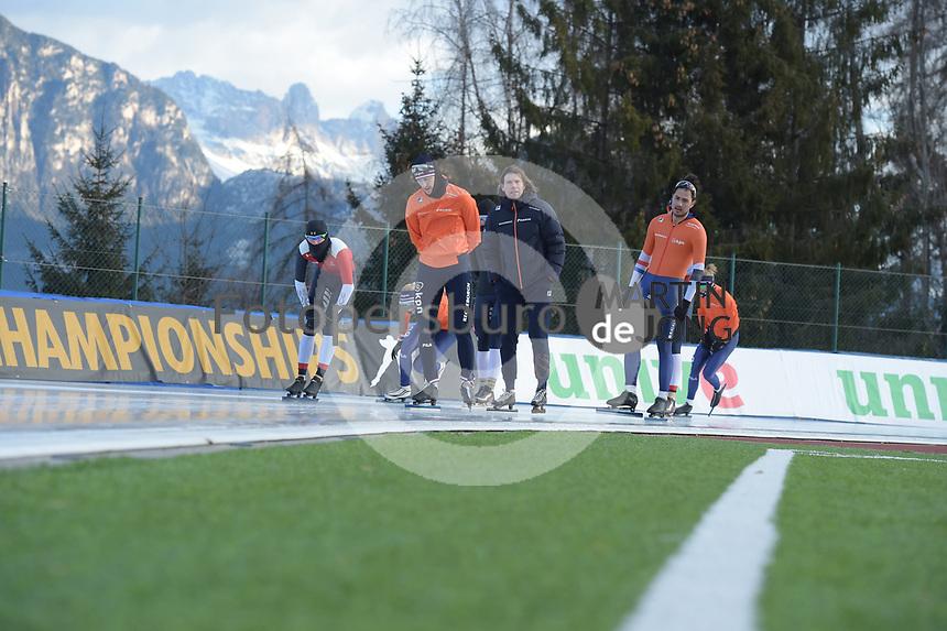 SPEED SKATING: COLLALBO: Arena Ritten, 10-01-2019, ISU European Speed Skating Championships, Ronald Mulder (NED), Gerard van Velde (Trainer/coach), Kai Verbij (NED), ©photo Martin de Jong
