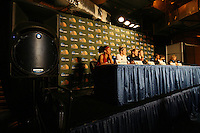 7 April 2008: Stanford Cardinal (L-R) Rosalyn Gold-Onwude, JJ Hones, Jayne Appel, Kayla Pedersen, and Candice Wiggins during Stanford's press conference for the 2008 NCAA Division I Women's Basketball Final Four championship game at the St. Pete Times Forum Arena in Tampa Bay, FL.
