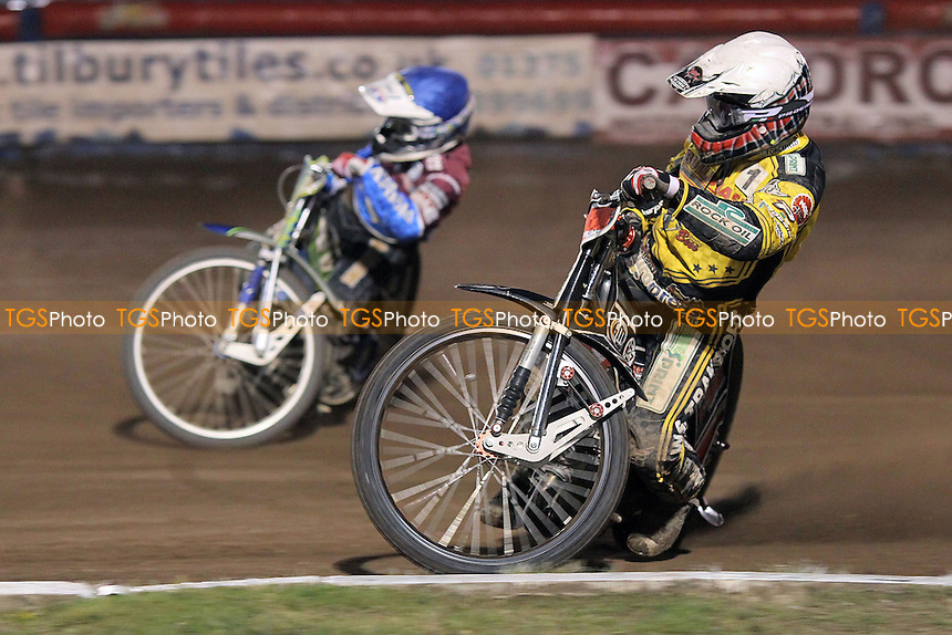 Heat 11: Justin Sedgmen (blue) and Chris Harris - Lakeside Hammers vs Coventry Bees - Sky Sports Elite League Speedway at Arena Essex Raceway, Purfleet - 10/09/12 - MANDATORY CREDIT: Gavin Ellis/TGSPHOTO - Self billing applies where appropriate - 0845 094 6026 - contact@tgsphoto.co.uk - NO UNPAID USE.