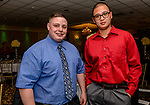 WOLCOTT, CT. 05 April 2018-040518BS09 - Wolcott Firefighters from left, Brian Cocchiola and Evan Sharkey pose for a photo at the Wolcott Chamber of Commerce awards banquet at Mahan's Lakeview in Wolcott on Thursday evening. Bill Shettle Republican-American