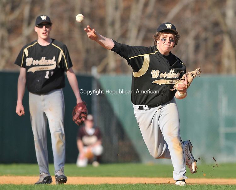WATERBURY, CT-24 APRIL 2009-042409JS08-Woodland's Kyle Gerogia (7) throws to first base for an out during their game against Sacred Heart Friday at Municipal Stadium in Waterbury. <br /> Jim Shannon Republican-American