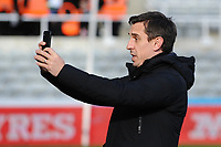 Former Manchester United defender and now Sky Sports Pundit Gary Neville  during Newcastle United vs Manchester United, Premier League Football at St. James' Park on 11th February 2018