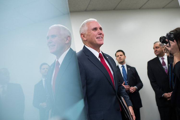 UNITED STATES - JANUARY 04: Vice President-elect Mike Pence arrives for a news conference with Speaker Paul Ryan, R-Wis., and others after a meeting of the House Republican Conference in the Capitol to discuss a strategy to repeal the Affordable Care Act, January 4, 2017. (Photo By Tom Williams/CQ Roll Call)