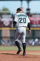 Salt River Rafters starting pitcher Jordan Yamamoto (20), of the Miami Marlins organization, during the Arizona Fall League Championship Game against the Peoria Javelinas at Scottsdale Stadium on November 17, 2018 in Scottsdale, Arizona. (Zachary Lucy/Four Seam Images)