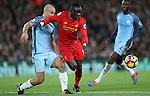 Pablo Zabaleta of Manchester City and Sadio Mané of Liverpool during the English Premier League match at Anfield Stadium, Liverpool. Picture date: December 31st, 2016. Photo credit should read: Lynne Cameron/Sportimage