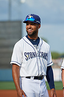 Charlotte Stone Crabs Garrett Whitley (24) during introductions before a Florida State League game against the Fort Myers Miracle on April 6, 2019 at Charlotte Sports Park in Port Charlotte, Florida.  Fort Myers defeated Charlotte 7-4.  (Mike Janes/Four Seam Images)