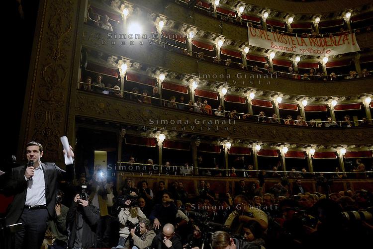 Roma, 7 Febbraio 2014<br /> Alexis Tsipras, leader del partito greco Syriza, candidato alla presidenza della Commissione europea e sostenuto da una lista civica, incontra movimenti e sostenitori al Teatro Valle occupato