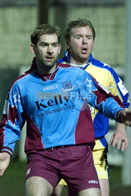 Drogheda United's Trevor Vaughan and Monaghan's John Carroll battle it out as the sides drew 1-1..pic: Newsfile