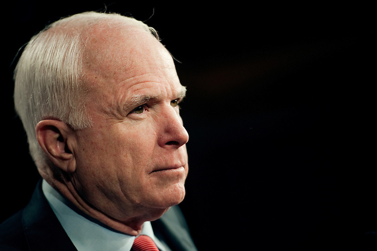 UNITED STATES - DECEMBER 14:  Sen. John McCain, R-Ariz., at a news conference in the Capitol to announce an effort to replace the defense sequester with other federal savings.  (Photo by Chris Maddaloni/CQ-Roll Call)