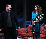 "Michael Mayer, Keri Russell during the Broadway Opening Night Curtain Call for Landford Wilson's ""Burn This""  at Hudson Theatre on April 15, 2019 in New York City."