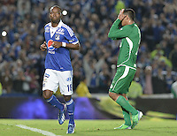 BOGOTÁ -COLOMBIA, 26-06-2013. Wason Rentería (I) de Millonarios celebra un gol en contra de Deportivo Cali durante partido de los cuadrangulares finales, fecha 4, de la Liga Postobón 2013-1 jugado en el estadio el Campín de la ciudad de Bogotá./ Wason Renteria (L) of Millonarios celebrates a goal  against Deportivo Cali during match of the final quadrangular 4th date of Postobon  League 2013-1 at El Campin stadium in Bogotá city. Photo: VizzorImage/STR