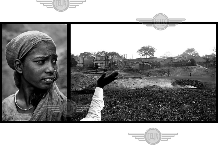 A woman and a village on the edge of a government wine. On the margins of these vast mines small communities of people make a precarious living scavenging coal and selling charcoal and coke they make from it. Below ground permanent fires burn, fuelled by seams of coal. The ground can be too hot to walk on and there is an ever present danger that houses will collapse into the vast underground caverns that are left unfilled after mining operations have ended.