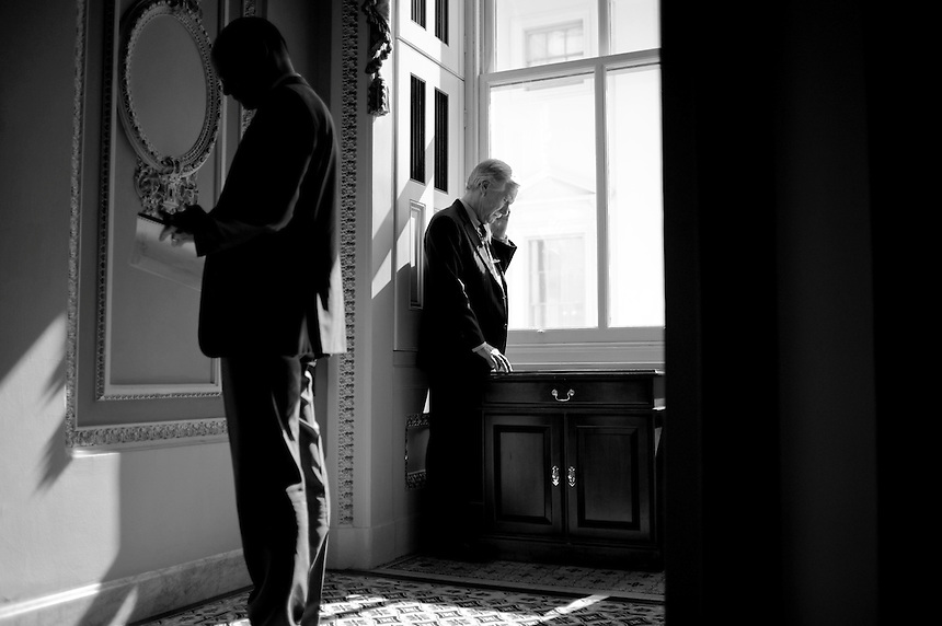 UNITED STATES - MARCH 7: Sen. Angus King (center), I-Maine, speaks on the phone at the Senate policy luncheons in the Capitol. Efforts from the White House to reach out to Congress on sequestration could suggest some forward progress on the budget from both parties. (Photo By Chris Maddaloni/CQ Roll Call)