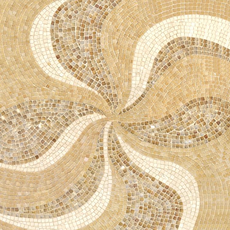 Pleiades, a hand-cut stone mosaic, shown in tumbled Renaissance Bronze, Honey Onyz, and Ivory Cream.