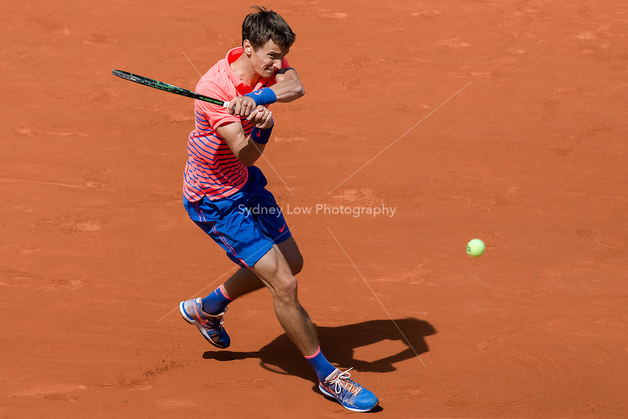 May 30, 2015: Andrey Kuznetsov of the Russian Federation in action in a 3rd round match against Rafael NADAL of Spain on day seven of the 2015 French Open tennis tournament at Roland Garros in Paris, France. Sydney Low/AsteriskImages