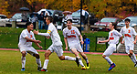 THOMASTON,  CT-101619JS16-   Terryville's Evan Coviello (16), second from left, celebrates with teammates after scoring the game-winning goal in overtime in their 3-2 win over Thomaston Wednesday at Nystrom Park in Thomaston.<br /> Jim Shannon Republican-American