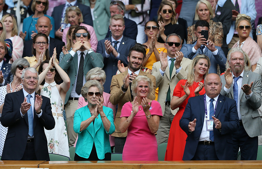 Serena Williams is applauded off court by amongst others John Major, David Beckham and Richard Branson<br /> <br /> Photographer Rob Newell/CameraSport<br /> <br /> Wimbledon Lawn Tennis Championships - Day 10 - Thursday 11th July 2019 -  All England Lawn Tennis and Croquet Club - Wimbledon - London - England<br /> <br /> World Copyright © 2019 CameraSport. All rights reserved. 43 Linden Ave. Countesthorpe. Leicester. England. LE8 5PG - Tel: +44 (0) 116 277 4147 - admin@camerasport.com - www.camerasport.com