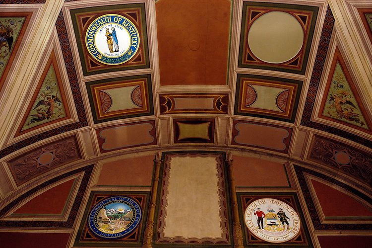 State seals in Senate Majority whip's office.