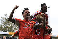 Luton Town vice captain Alan Sheehan shows his delight of Cameron McGeehans winning penalty during the Sky Bet League 2 match between Luton Town and Doncaster Rovers at Kenilworth Road, Luton, England on 24 September 2016. Photo by Liam Smith.