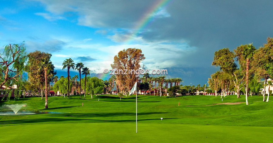 Golf Course ,Flag on the Green, Stunning ,Rainbow, Palm Desert, CA, Clouds