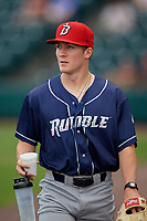 Binghamton Rumble Ponies pitcher Ryley Gilliam before an Eastern League game against the Richmond Flying Squirrels on May 29, 2019 at The Diamond in Richmond, Virginia.  Binghamton defeated Richmond 9-5 in ten innings.  (Mike Janes/Four Seam Images)
