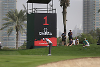 Renato Paratore (ITA) on the 1st during Round 1 of the Omega Dubai Desert Classic, Emirates Golf Club, Dubai,  United Arab Emirates. 24/01/2019<br /> Picture: Golffile | Thos Caffrey<br /> <br /> <br /> All photo usage must carry mandatory copyright credit (&copy; Golffile | Thos Caffrey)
