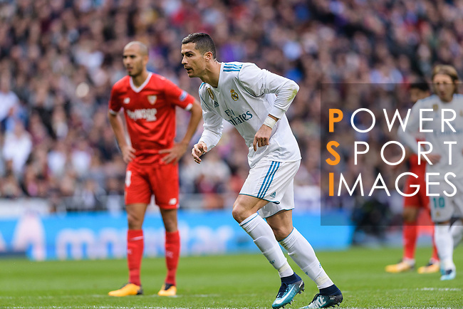 Cristiano Ronaldo of Real Madrid attempts to kick a penalty during La Liga 2017-18 match between Real Madrid and Sevilla FC at Santiago Bernabeu Stadium on 09 December 2017 in Madrid, Spain. Photo by Diego Souto / Power Sport Images
