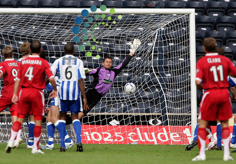 Lee Miller scores past Kilmarnock Keeper Alan Combe during the Kilmarnock v Aberdeen Scottish Premier League,.at Rugby Park, Kilmarnock..Pic: Maurice McDonald/Universal News. 1/Sep/2007..