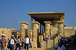 Europe, Mediterranean, Cyprus, Limassol, Kourion. Tourists visit the ancient ruins of the Agora in Kourion.