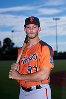 AZL Giants Orange third baseman Tyler Wyatt (83) poses for a photo before an Arizona League game against the AZL Giants Black on July 19, 2019 at the San Francisco Giants Baseball Complex in Scottsdale, Arizona. The AZL Giants Black defeated the AZL Giants Orange 8-5. (Zachary Lucy/Four Seam Images)