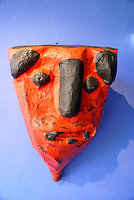 Papier mache mask at the Museo Frida Kahlo, also known as the Casa Azul, or Blue house, Coyoacan, Mexico City