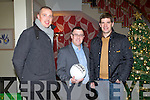 The Kerry manager Eammon Fitzmaurice with Kieran Donaghy and John Drummey at the Kerry GAA annual general meeting at the Ballyroe Heights hotel on Monday.