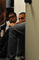 Sao Paulo, SP, 27 DE MARCO DE 2012 -Torcedores do Palmeiras presos no Dhpp entre eles Tiago Alves Lezo sendo o do Meio.. (FOTO: ADRIANO LIMA / BRAZIL PHOTO PRESS).