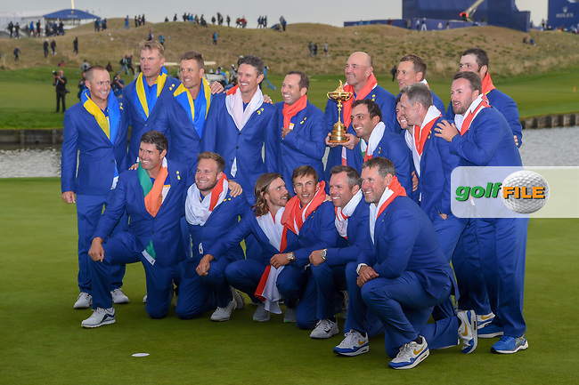 Team Europe celebrates winning the 2018 Ryder Cup following Sunday's singles of the 2018 Ryder Cup, Le Golf National, Guyancourt, France. 9/30/2018.<br /> Picture: Golffile | Ken Murray<br /> <br /> <br /> All photo usage must carry mandatory copyright credit (© Golffile | Ken Murray)