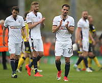 Bolton Wanderers players appauld the fans<br /> <br /> Photographer Mick Walker/CameraSport<br /> <br /> The EFL Sky Bet Championship - Burton Albion v Bolton Wanderers - Saturday 28th April 2018 - Pirelli Stadium - Burton upon Trent<br /> <br /> World Copyright &copy; 2018 CameraSport. All rights reserved. 43 Linden Ave. Countesthorpe. Leicester. England. LE8 5PG - Tel: +44 (0) 116 277 4147 - admin@camerasport.com - www.camerasport.com