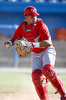 June 22, 2009:  Catcher J.C. Rodriguez of the Williamsport Crosscutters during a game at Dwyer Stadium in Batavia, NY.  The Crosscutters are the NY-Penn League Short-Season Single-A affiliate of the Philadelphia Phillies.  Photo by:  Mike Janes/Four Seam Images