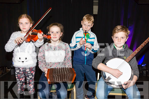 Performing at the Barr na Sraide annual concert in the Kerry Coast Hotel on Friday were l-r; Katie Kelleher, Ciara Clifford, Jack Kelleher & Ronan Clifford.