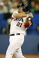 March 7, 2009:  First baseman Kevin Youkilis (21) of Team USA during the first round of the World Baseball Classic at the Rogers Centre in Toronto, Ontario, Canada.  Team USA defeated Canada 6-5 in both teams opening game of the tournament.  Photo by:  Mike Janes/Four Seam Images