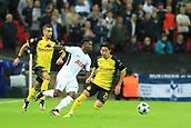 13th September 2017, Wembley Stadium, London, England; Champions League Group stage, Tottenham Hotspur versus Borussia Dortmund; Serge Aurier of Tottenham Hotspur takes on Shinji Kagawa of Borussia Dortmund