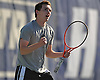 Brian Hoffarth of St. Anthony's High School reacts after winning the NSCHSAA varsity boys' tennis singles title at Hofstra University on Thursday, May 7, 2015. The Loyola University-bound senior bested Chaminade junior Colin Sacco 6-3, 6-2 in the league's championship match.
