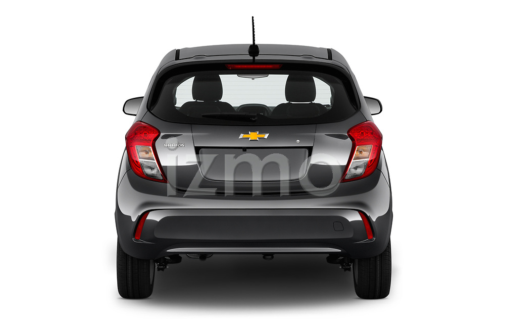 Straight rear view of a 2019 Chevrolet Spark LS Select Doors Door Hatchback stock images