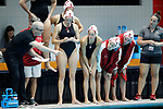 INDIANAPOLIS, IN - MAY 14: Stanford University player listen to instructions from head coach John Tanner during the Division I Women's Water Polo Championship against UCLA held at the IU Natatorium-IUPUI Campus on May 14, 2017 in Indianapolis, Indiana. (Photo by Joe Robbins/NCAA Photos/NCAA Photos via Getty Images)