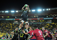 Hurricanes' Blade Thomson takes lineout ball during the Super Rugby match between the Hurricanes and Reds at Westpac Stadium in Wellington, New Zealand on Friday, 18 May 2018. Photo: Dave Lintott / lintottphoto.co.nz