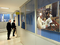 Redazione dell'Osservatore Romano, Citta' del Vaticano, 10 marzo 2009. Sulla destra, una foto di Papa Benedetto XVI..Editorial office of the Vatican newspaper L'Osservatore Romano, Vatican City, 10 march 2009. At right, a picture portrayng Pope Benedict XVI..UPDATE IMAGES PRESS/Riccardo De Luca