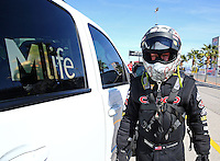 Mar 28, 2014; Las Vegas, NV, USA; NHRA top fuel dragster driver Steve Torrence during qualifying for the Summitracing.com Nationals at The Strip at Las Vegas Motor Speedway. Mandatory Credit: Mark J. Rebilas-
