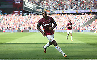 West Ham United's Michail Antonio celebrates scoring his side's first goal <br /> <br /> Photographer Rob Newell/CameraSport<br /> <br /> The Premier League - West Ham United v Leicester City - Saturday 20th April 2019 - London Stadium - London<br /> <br /> World Copyright © 2019 CameraSport. All rights reserved. 43 Linden Ave. Countesthorpe. Leicester. England. LE8 5PG - Tel: +44 (0) 116 277 4147 - admin@camerasport.com - www.camerasport.com
