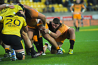 Marcos Kremer packs down for a scrum during the Super Rugby match between the Hurricanes and Jaguares at Westpac Stadium in Wellington, New Zealand on Friday, 17 May 2019. Photo: Dave Lintott / lintottphoto.co.nz