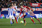 Atletico de Madrid´s Vietto and Real Sociedad´s Elustondo during 2015-16 La Liga match between Atletico de Madrid and Real Sociedad at Vicente Calderon stadium in Madrid, Spain. March 01, 2016. (ALTERPHOTOS/Victor Blanco)