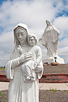 Woman and child sculpture at Our Lady of Peace Shrine along I-80 near Pine Bluff, Wyoming