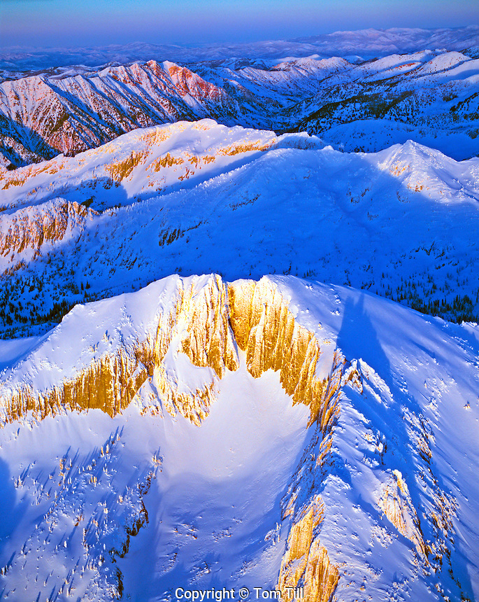 Heavy Snow on the Wasatch Range, Lone Peak and Mountains of Lone Peak Wilderness, Utah